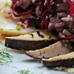 closeup of radicchio risotto, cardoncelli and pecorino slub